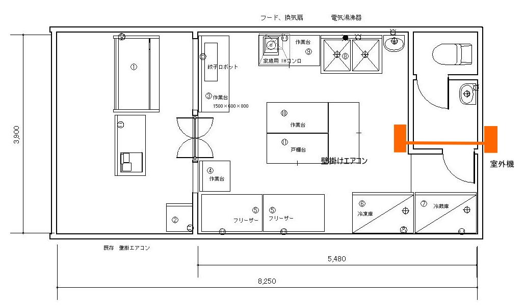 生餃子店の店舗図面