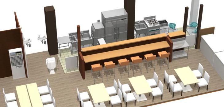 ラーメン店舗設計3D図面