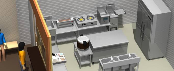 3D厨房設計レイアウト図面