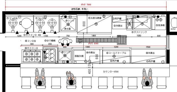 ラーメン厨房設計レイアウト図面